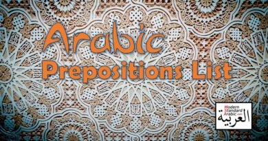 Arabic prepositions list time and place words